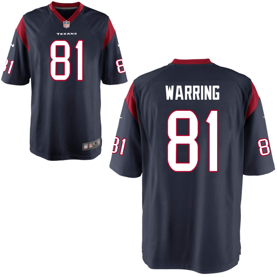 Men's Houston Texans #81 Kahale Warring Navy Blue Stitched NFL Nike Game Jersey