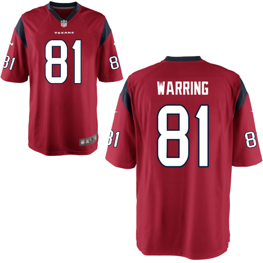 Men's Houston Texans #81 Kahale Warring Red Stitched NFL Nike Game Jersey