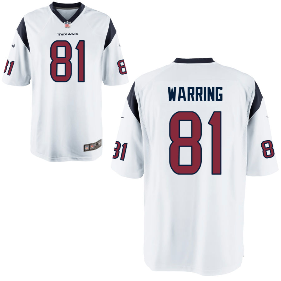 Men's Houston Texans #81 Kahale Warring White Stitched NFL Nike Game Jersey