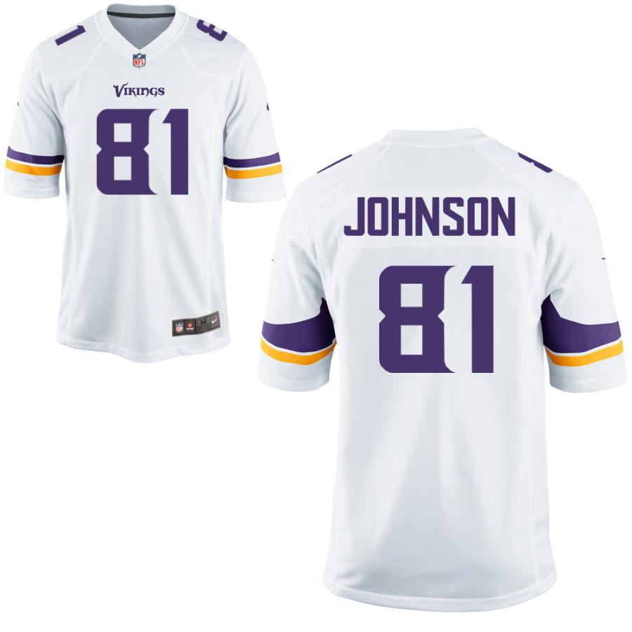 Men's Minnesota Vikings #81 Olabisi Johnson White Road Stitched NFL Nike Game Jersey