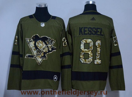 Men's Pittsburgh Penguins #81 Phil Kessel Green Salute To Service 2017-2018 adidas Hockey Stitched NHL Jersey
