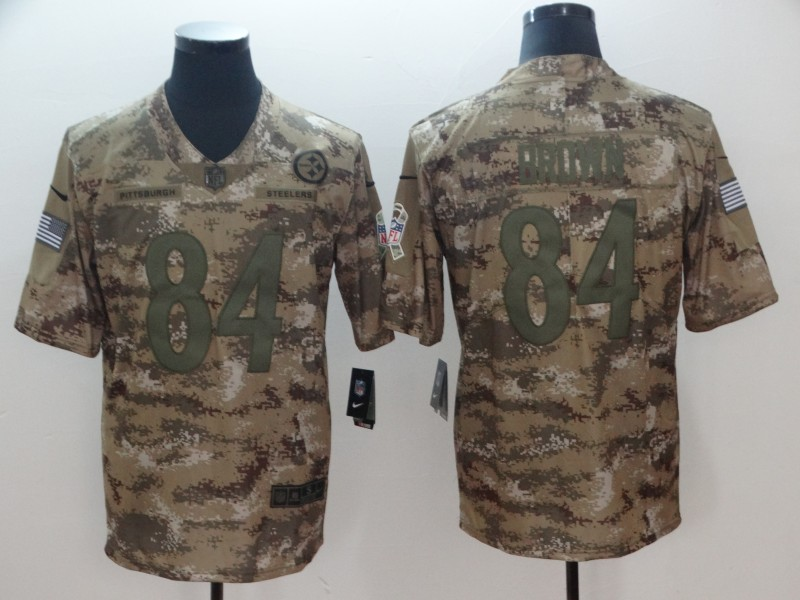 Men's Pittsburgh Steelers #84 Antonio Brown Nike Camo 2018 Salute to Service Stitched NFL Limited Jersey
