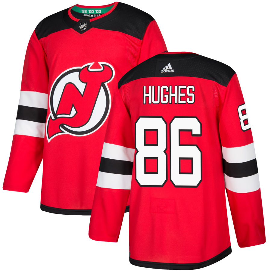 Men's New Jersey Devils #86 Jack Hughes Red Stitched Adidas NHL Home Men's Jersey