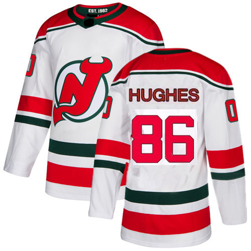 Men's New Jersey Devils #86 Jack Hughes White with Green Stitched Adidas NHL Home Men's Jersey