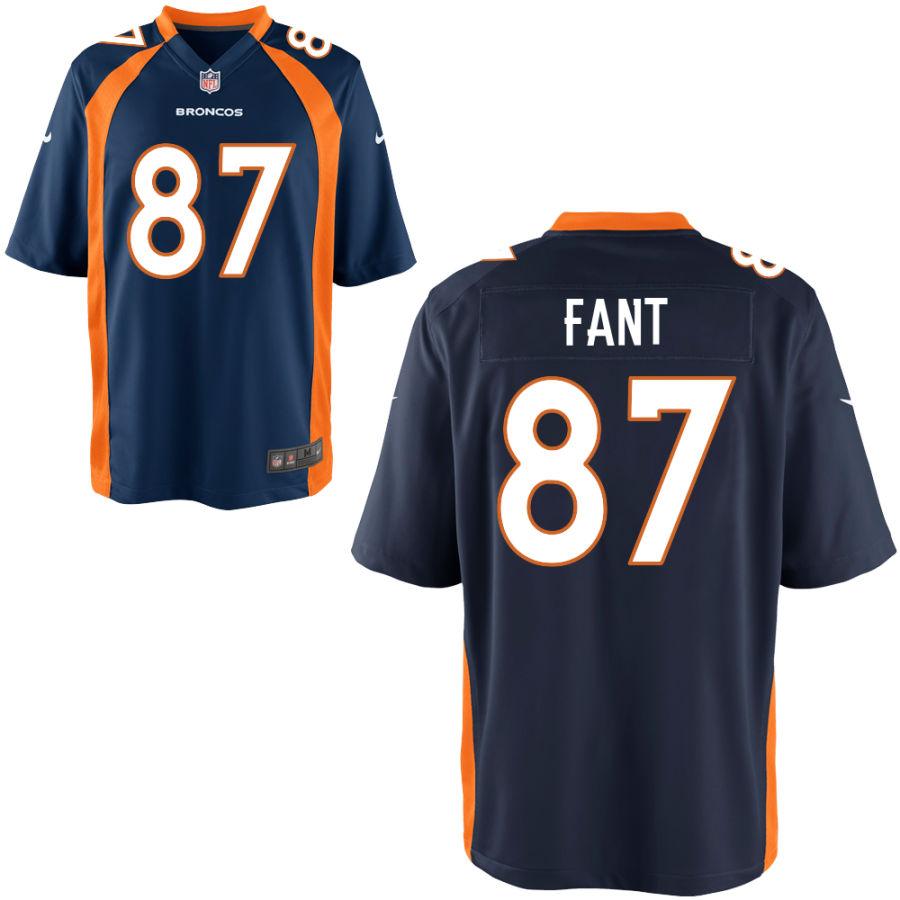 Men's Denver Broncos #87 Noah Fant Navy Blue Stitched NFL Nike Game Jersey