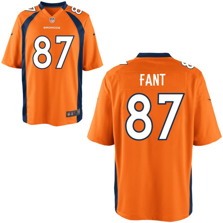 Men's Denver Broncos #87 Noah Fant Orange Stitched NFL Nike Game Jersey