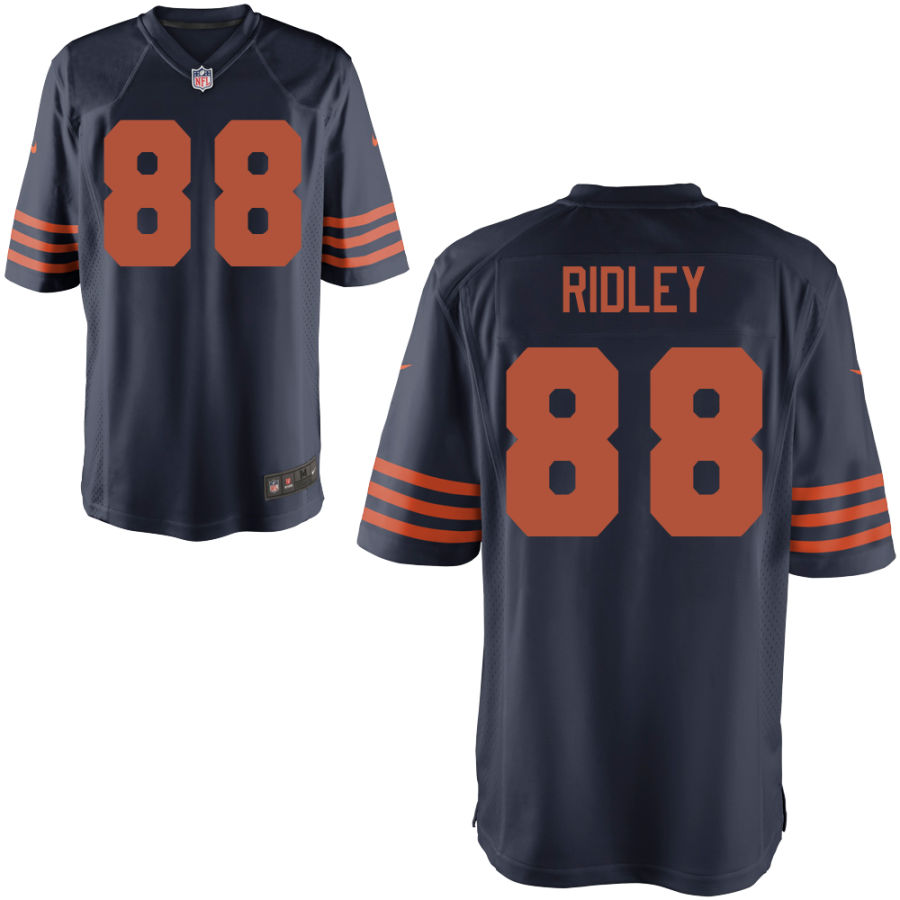 Men's Chicago Bears 88 Riley Ridley Navy Blue with Orange Game Jersey