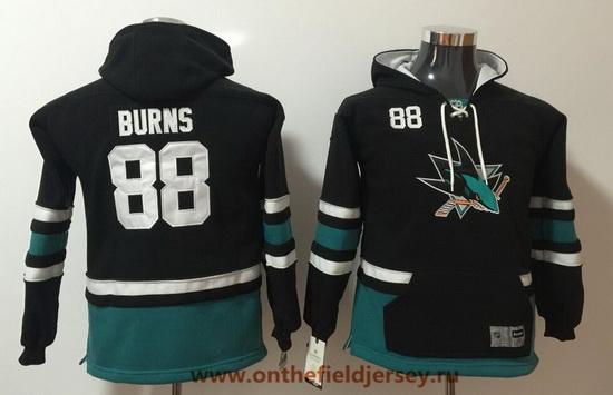 Youth San Jose Sharks #88 Brent Burns Black Pocket Stitched NHL Old Time Hockey Pullover Hoodie