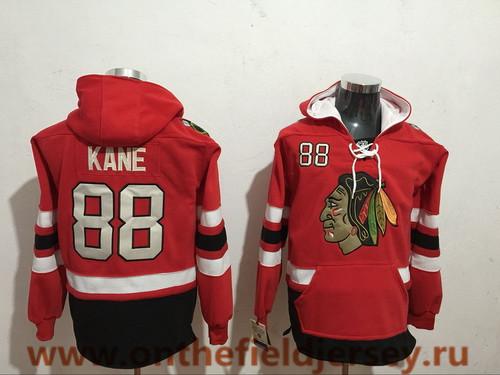 Men's Chicago Blackhawks #88 Patrick Kane NEW Red Pocket Stitched NHL Old Tim Hockey Hoodie