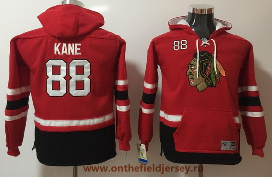 Youth Chicago Blackhawks #88 Patrick Kane Red Pocket Stitched NHL Old Time Hockey Pullover Hoodie
