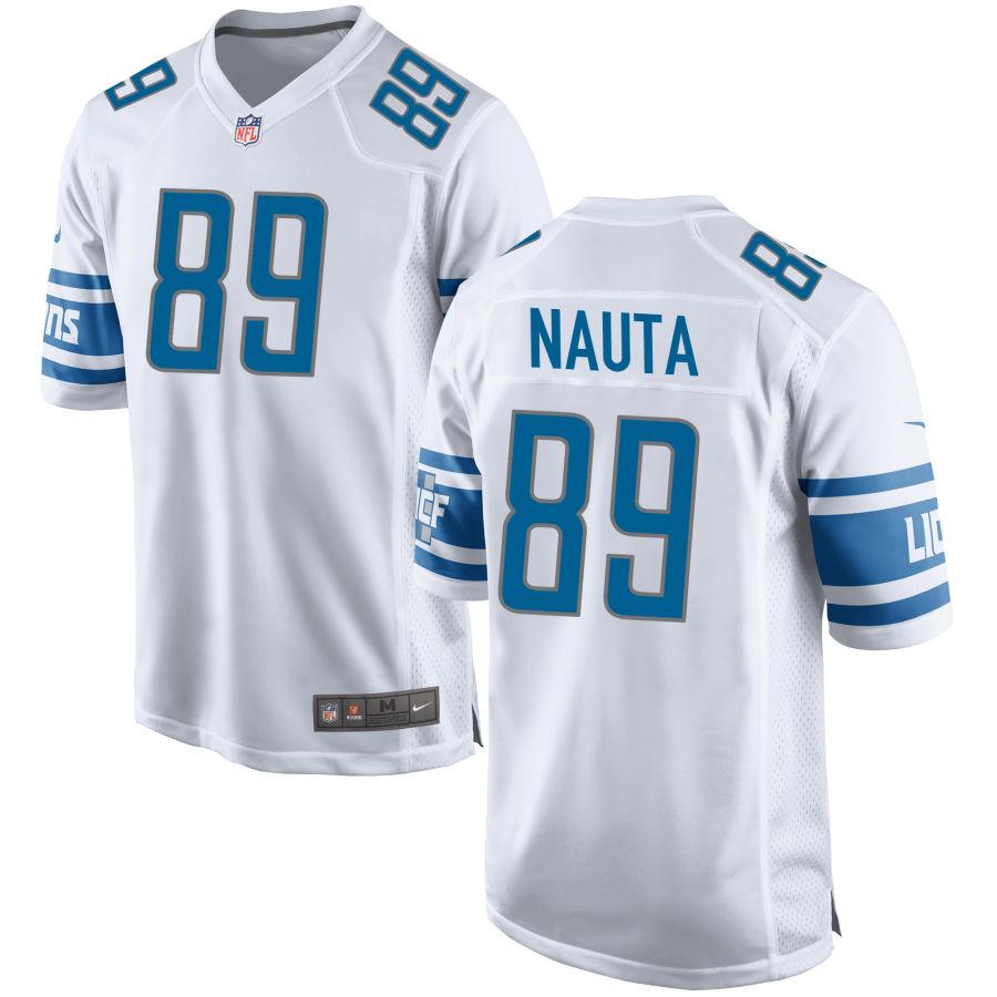 Men's Detroit Lions #89 Isaac Nauta White NFL Nike Limited Jersey