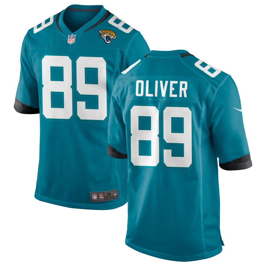 Men's Jacksonville Jaguars #89 Josh Oliver Teal Blue Stitched NFL Nike Game Jersey