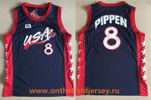 1996 Olympics Team USA Men's #8 Scottie Pippen Navy Blue Retro Stitched Basketball Swingman Jersey