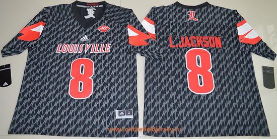 Men's Louisville Cardinals #8 Lamar Johnson Black Stitched College Football 2016 adidas NCAA Jersey