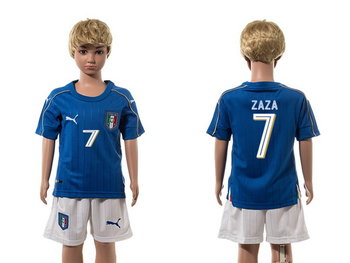 2016 European Cup Italy Home #7 Zaza Blue Youth Soccer Shirt Kit