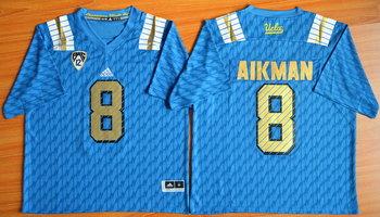 Men's UCLA Bruins #8 Troy Aikman Light Blue College Football Nike Limited Jersey