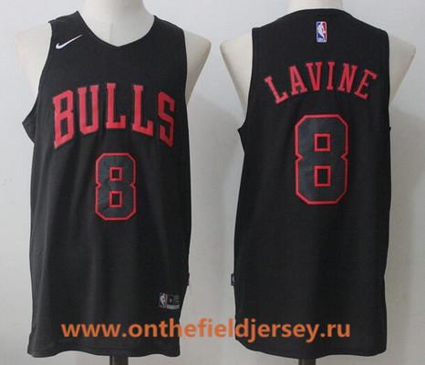 Men's Chicago Bulls #8 Zach LaVine All Black 2017-2018 Nike Swingman Stitched NBA Jersey
