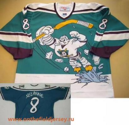 Men's Mighty Ducks of Anaheim Wild Wing #8 Teemu Selanne 1995-96 Teal Green CCM Throwback Stitched Vintage Hockey Jersey