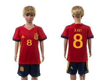 2016 European Cup Spain Home #8 Xavi Red Youth Soccer Shirt Kit