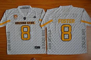 Men's Arizona State Sun Devils #8 D.J. Foster White Desert Ice 2015 College Football Jersey