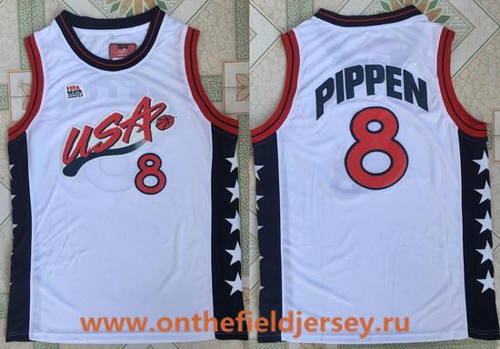 1996 Olympics Team USA Men's #8 Scottie Pippen White Retro Stitched Basketball Swingman Jersey