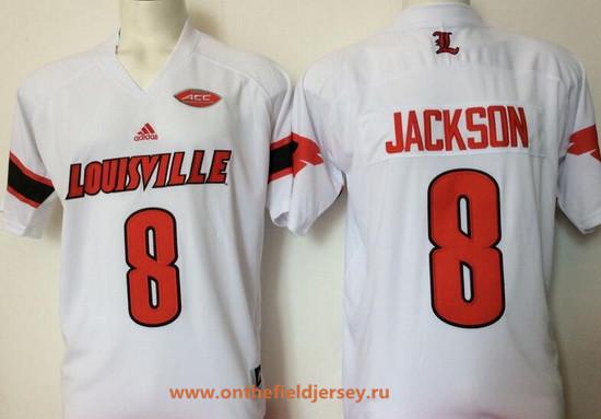 Men's Louisville Cardinals #8 Lamar Johnson White Stitched College Football adidas NCAA Jersey