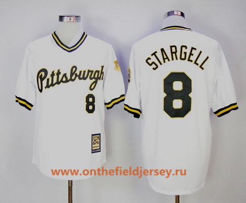 Men's Pittsburgh Pirates #8 Willie Stargell White Pullover 1986 Throwback Stitched MLB Mitchell & Ness Jersey