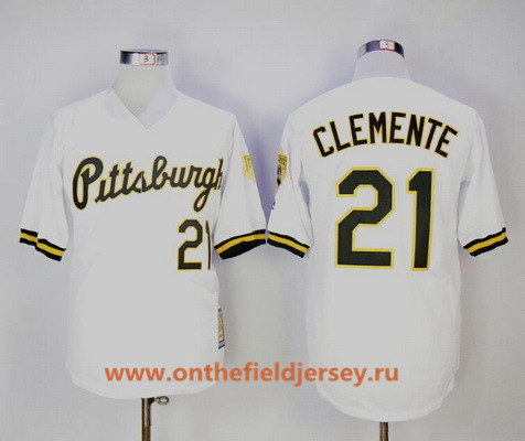 Men's Pittsburgh Pirates #21 Roberto Clemente White Button 1987 Throwback Stitched MLB Mitchell & Ness Jersey