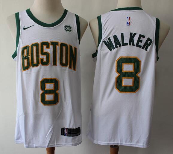 Men's Boston Celtics #8 Kemba Walker Whtie with Gold Nike Swingman General Electric Stitched NBA Jersey