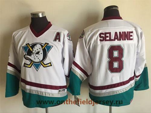 Youth Mighty Ducks of Anaheim #8 Teemu Selanne 1995-96 White CCM Throwback Stitched Vintage Hockey Jersey
