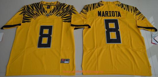Men's Oregon Ducks #8 Marcus Mariota Yellow Electric Lightning Stitched College Football 2016 Nike NCAA Jersey