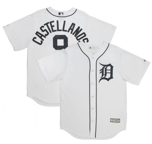 Men's Detroit Tigers #9 Nicholas Castellanos 2018 White Stitched MLB Majestic Cool Base Jersey