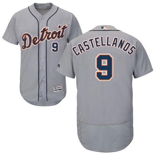 Men's Detroit Tigers #9 Nicholas Castellanos Gray Road Stitched MLB Majestic Flex Base Jersey