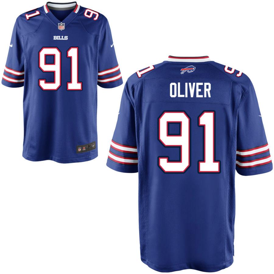 Men's Buffalo Bills #91 Ed Oliver Blue Stitched NFL Nike Game Jersey