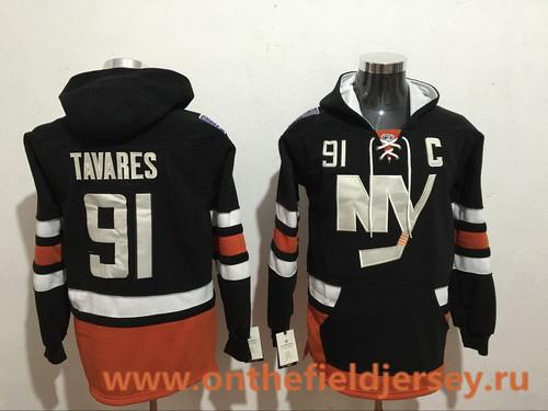 Men's New York Islanders #91 John Tavares NEW Black Pocket Stitched NHL Old Tim Hockey Hoodie