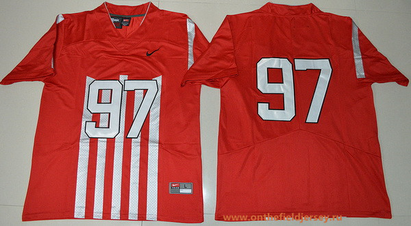 Men's Ohio State Buckeyes #97 Joey Bosa 1917 Throwback Red Limited Stitched College Football Nike NCAA Jersey