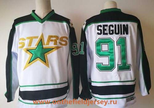 Men's Dallas Stars #91 Tyler Seguin White Away 2017-2018 CCM Hockey Stitched NHL Jersey