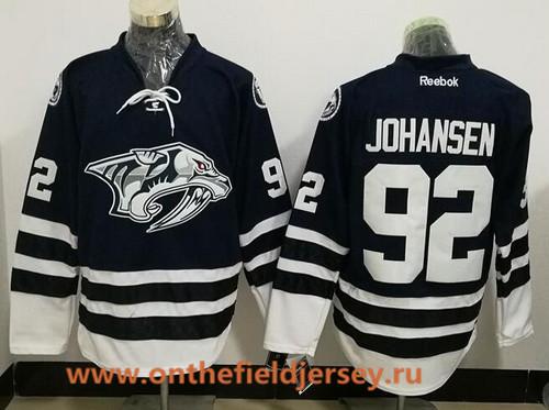 Men's Nashville Predators #92 Ryan Johansen Navy Blue Third Stitched NHL Reebok Hockey Jersey