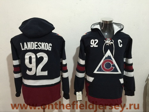 Men's Colorado Avalanche #92 Gabriel Landeskog NEW Navy Blue Pocket Stitched NHL Old Tim Hockey Hoodie