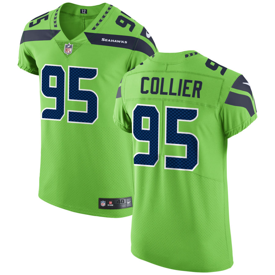 Men's Seattle Seahawks #95 LJ Collier Green Stitched NFL Nike Game Jersey