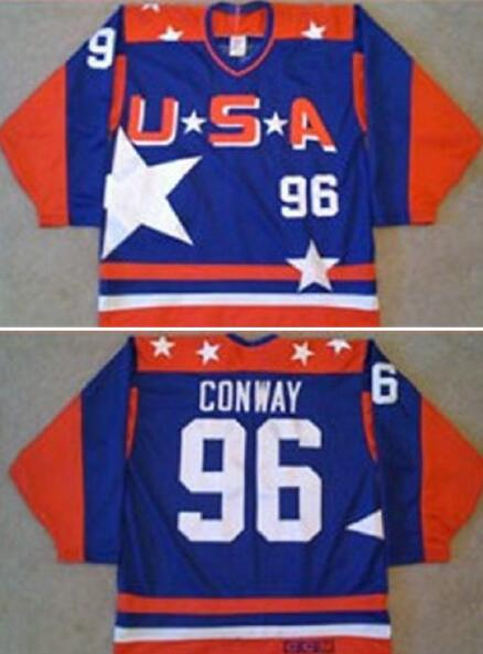 Men's The Movie The Mighty Ducks #96 Charlie Conway Blue Team USA All Star Stitched Film Ice Hockey Jersey