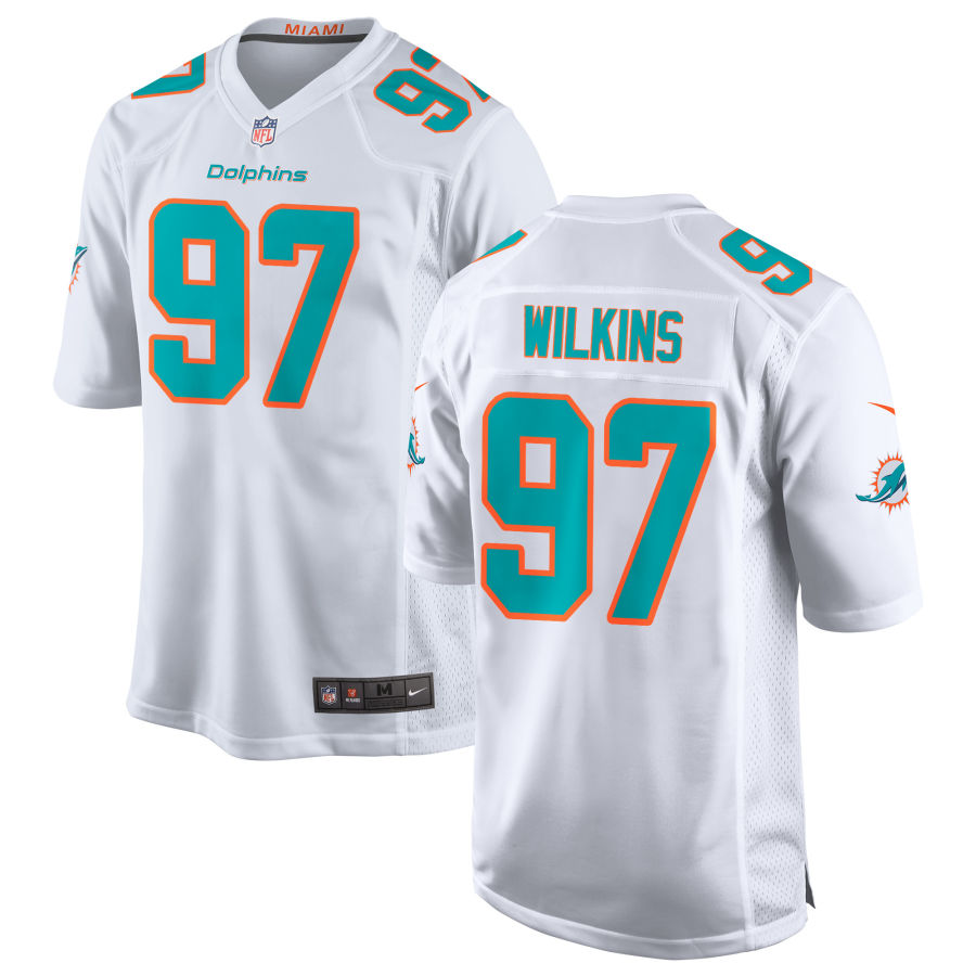 Men's Miami Dolphins #97 Christian Wilkins White Road Stitched NFL Nike Game Jersey