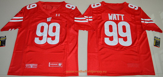 Men's Wisconsin Badgers #99 J. J. Watt Red Stitched College Football 2016 Under Armour NCAA Jersey