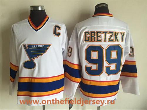 Men's St. Louis Blues #99 Wayne Gretzky 1998-99 White CCM Vintage Throwback Jersey