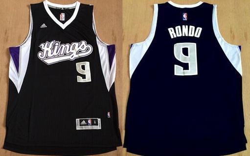 Men's Sacramento Kings #9 Rajon Rondo Revolution 30 Swingman New Black Jersey