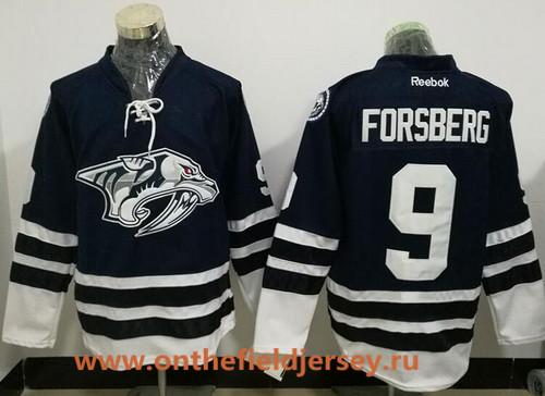 Men's Nashville Predators #9 Filip Forsberg Navy Blue Third Stitched NHL Reebok Hockey Jersey