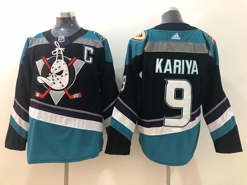 Men's Anaheim Ducks #9 Paul Kariya 2018 New Black with Teal Stitched adidas NHL Jersey