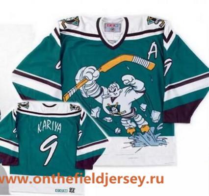 Men's Mighty Ducks of Anaheim Wild Wing #9 Paul Kariya 1995-96 Teal Green CCM Throwback Stitched Vintage Hockey Jersey