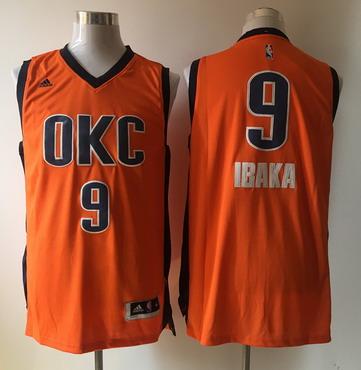 Men's Oklahoma City Thunder #9 Serge Ibaka Revolution 30 Swingman 2015-16 New Orange Jersey