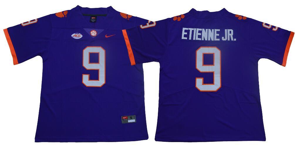 Men's Clemson Tigers #9 Travis Etienne Jr. Nike Purple NCAA College Football Jersey